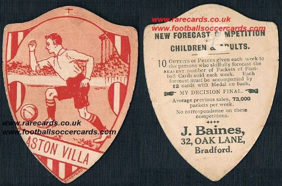 1918 Aston Villa Baines forecast red white card